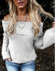 Fashion White Lapel Off-the-shoulder Oblique Collar With Two Lantern Sleeve Sweaters