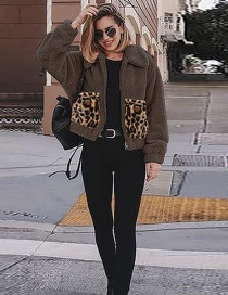 Fashion Dark Brown Leopard Pocket Stitching Metal Zipper Plush Padded Jacket