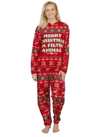 Fashion Red Christmas Merry Christmas Pajama Jumpsuit