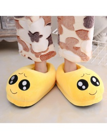 Fashion 17 Yellow Cartoon Expression Plush Bag With Cotton Slippers