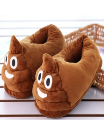 Fashion Brown+white Plush Big Head And Half Cotton Slippers