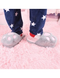Fashion Gray Cartoon Bear Paw Plush Cotton Slippers