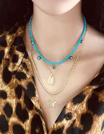 Fashion Gold Pentagram Multilayer Rice Bead Chain Necklace