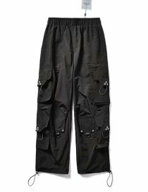 Fashion Black Multi-pocket Foot Elasticated Overalls
