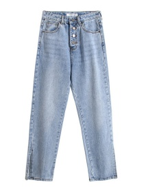 Fashion Blue Single-breasted Split-washed Jeans