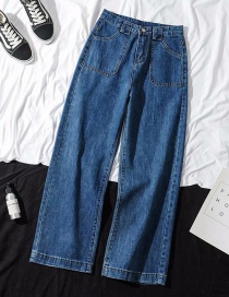 Fashion Blue Washed High-rise Wide-leg Jeans