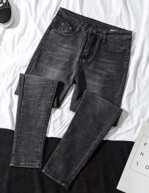 Fashion Gray Washed High-waisted Feet Denim Pants