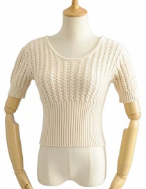 Fashion Beige Twisted Knit Sweater
