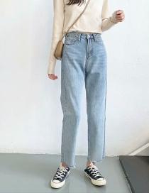 Fashion Blue Washed High Waist Straight Jeans