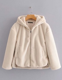 Fashion Beige Hooded Fur Zip Coat