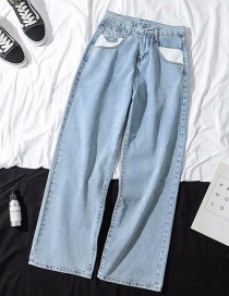 Fashion Blue Washed Pocket White High Waist Wide Leg Jeans