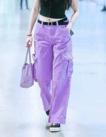 Fashion Purple Corduroy Overalls
