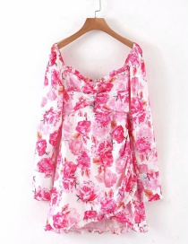 Fashion Pink Puff Sleeve Flower Print Dress