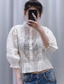Fashion White Embroidered Openwork Stitching Single-breasted Shirt