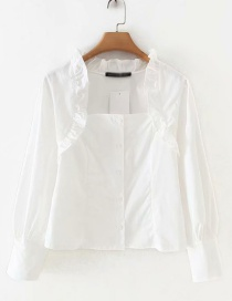 Fashion White Wooden Eared Collar Single-breasted Shirt