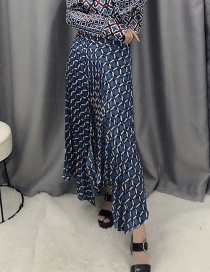 Fashion Blue Geometric Printed Split Pleated Skirt