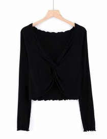 Fashion Black Deep V Cross Long Sleeve T-shirt