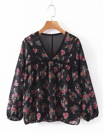 Fashion Black Flower Print V-neck Shirt