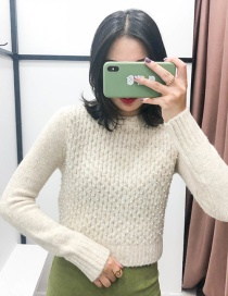 Fashion Apricot Beaded Pullover