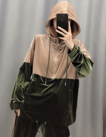 Fashion Khaki + Green Velvet Colorblock Laced Sweater