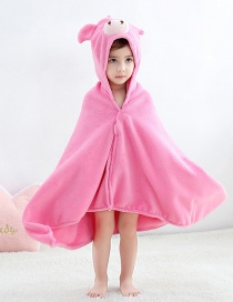 Fashion Powder Pig Bathrobe (coral Fleece) Cartoon Pig Children Coral Fleece Cloak Bath Towel