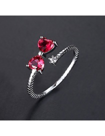 Fashion Red Zirconium White Gold-t18d25 Bow Opening Adjustable Ring