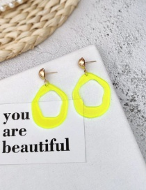 Fashion Yellow Geometric Irregular Fluorescent Acrylic Earrings