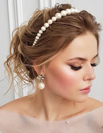 Fashion White Big Pearl Beaded Headband