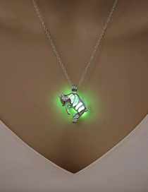 Fashion Yellow Green Hollow Luminous Puppy Necklace