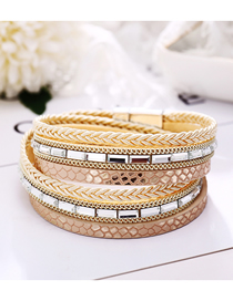 Fashion Gold Artificial Leather Edging Geometric Braided Magnetic Buckle Bracelet