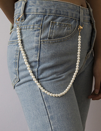Fashion White Geometric Beads Imitation Pearl Waist Chain