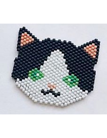 Fashion Black And White Kitten Rice Beads Woven Bracelet