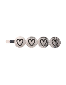 Fashion Silver Alloy Brushed Drop Oil Love Hairpin