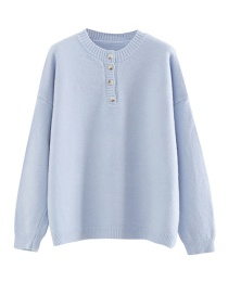 Fashion Blue Solid Color Pullover Button Knit Sweater