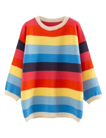 Fashion Red Rainbow Pullover