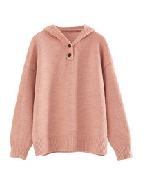 Fashion Pink Solid Color Button Hooded Pullover