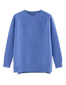 Fashion Blue Round Neck Twist Pullover Sweater