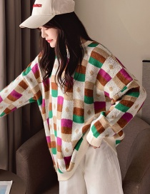 Fashion Green Checkered Round Neck Pullover