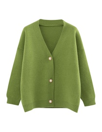 Fashion Green Knit Cardigan