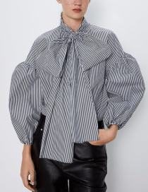 Fashion Stripe Bow Stripe Blouse
