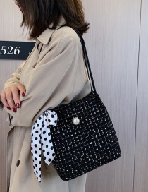 Fashion Black Woolen Shoulder Shoulder Bag