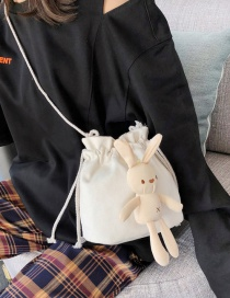 Fashion White Rabbit Doll Draw Canvas Crossbody Bag