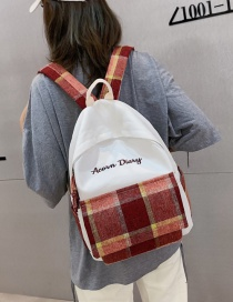 Fashion Red Canvas Plaid Contrast Backpack