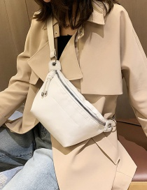 Fashion White Zipper Stitching Diagonal Pocket