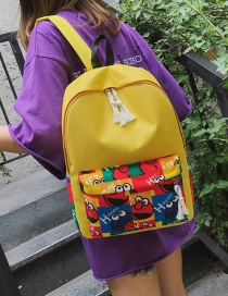 Fashion Yellow Canvas Printed Backpack