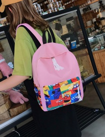 Fashion Pink Canvas Printed Backpack