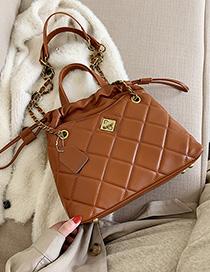 Fashion Brown Grids Pattern Bags