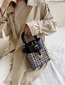 Fashion Black Chain Plaid Stitching Shoulder Bag Shoulder Bag