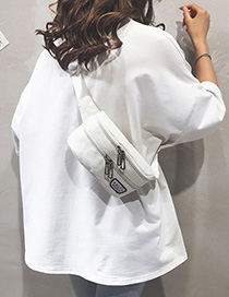 Fashion White Canvas Letters Labeled Shoulder Crossbody Bag