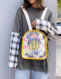 Fashion Yellow Graffiti Canvas Cartoon Letter Print Backpack